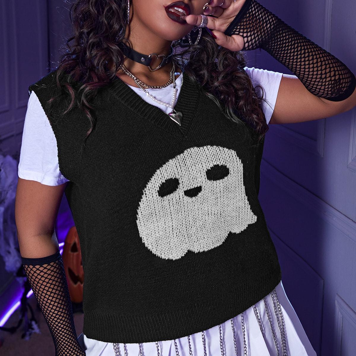 размера плюс Вязаный жилет на хэллоуин с рисунком без футболки