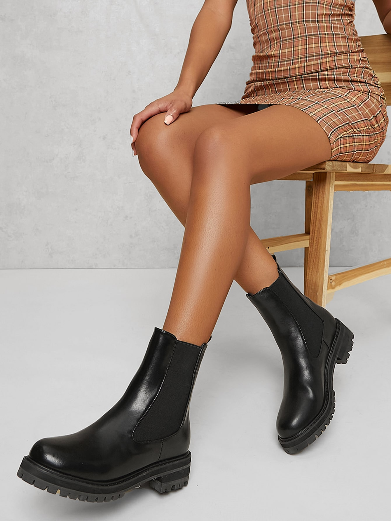 Faux Leather Lug Block Heel Ankle Chelsea Boots