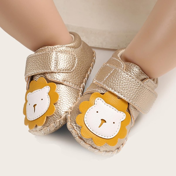 Baby Cartoon Lion Appliques Velcro Strap Flats, Gold