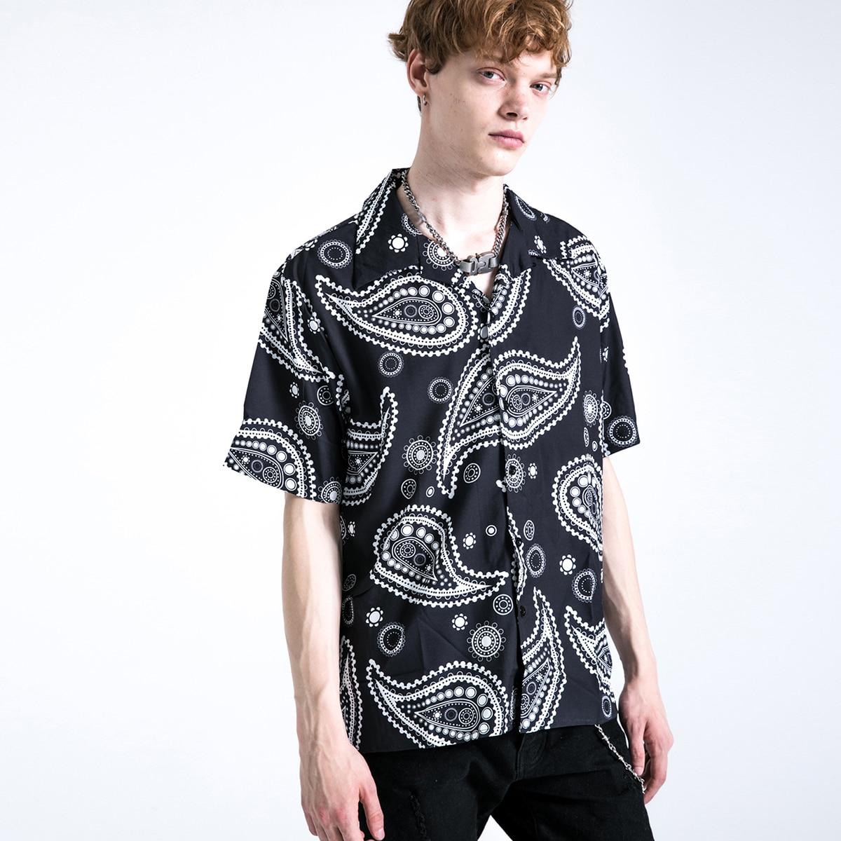 Мужская рубашка с принтом пейсли