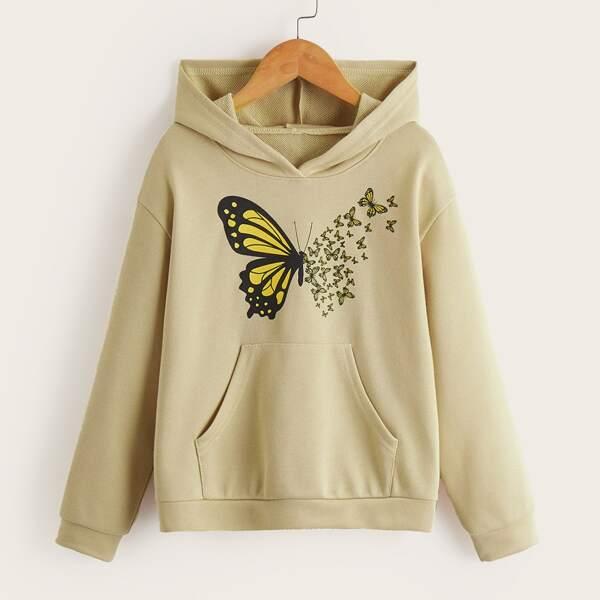Girls Butterfly Print Kangaroo Pocket Drop Shoulder Hoodie, Apricot