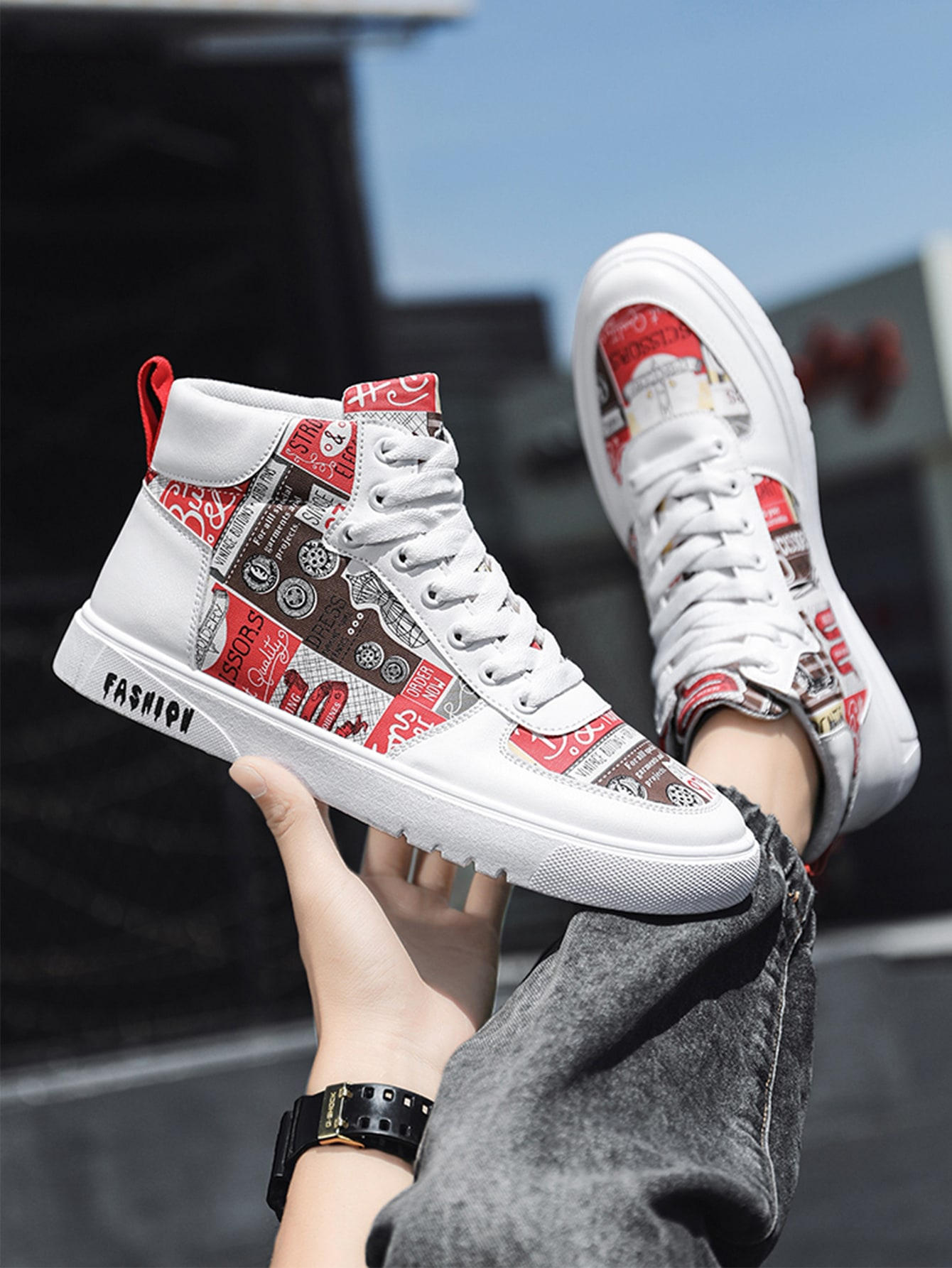 Men Letter Graphic High Top Skate Shoes