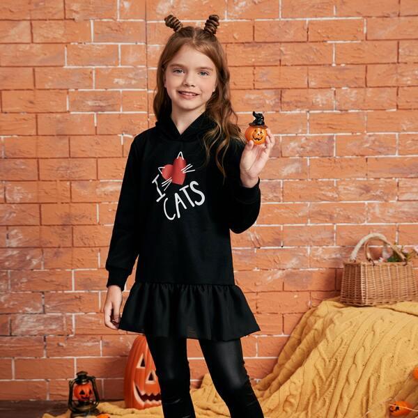 Girls Slogan & Cartoon Graphic Ruffle Hem Hoodie Dress, Black