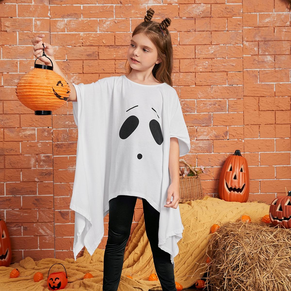Girls Halloween Print Batwing Sleeve Top & Leggings, SHEIN  - buy with discount