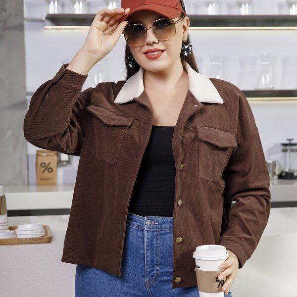 Plus Flap Pocket Drop Shoulder Corduroy Jacket, Coffee brown