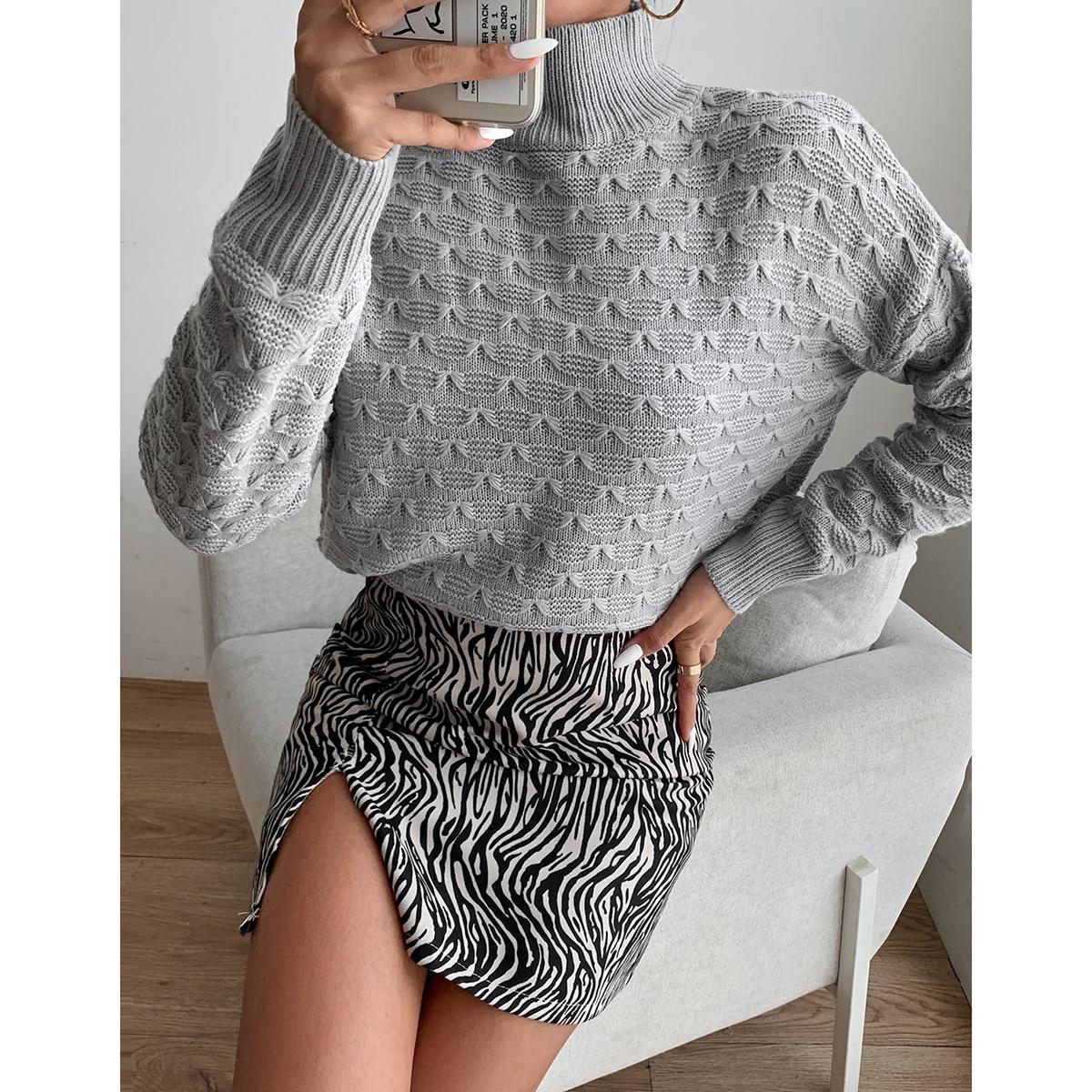Mock Neck Drop Shoulder Solid Sweater