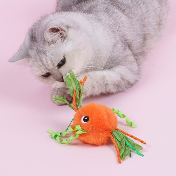 1pc Pet Plush Toy, Orange