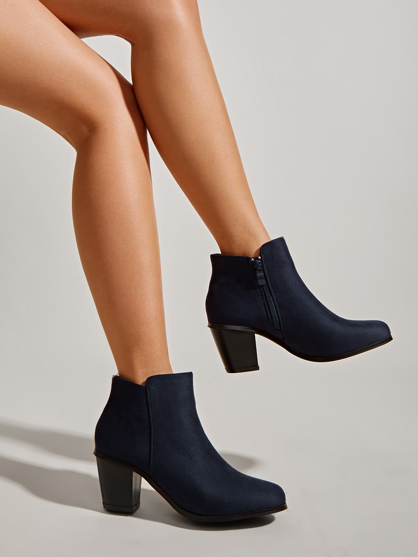 Suede Side Zip Chunky Heeled Boots