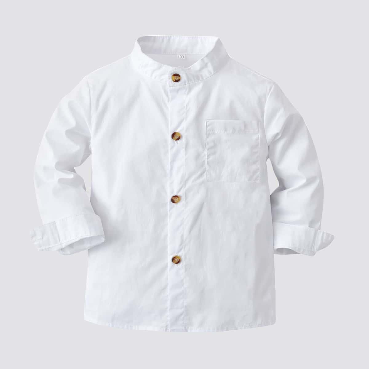 Рубашка с воротником-стойкой на пуговицах для мальчиков