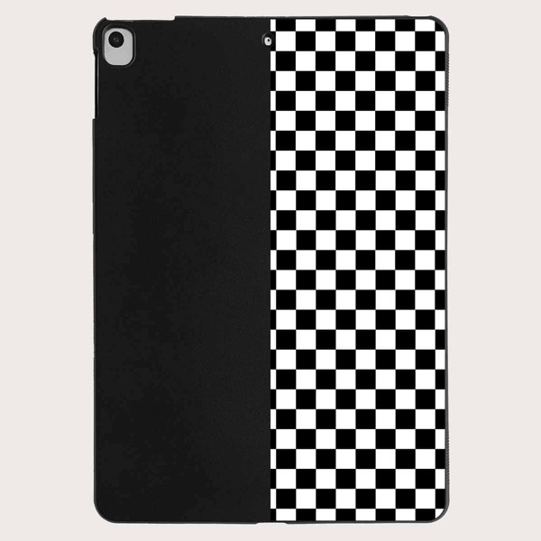 Checkered Case For iPad, Black and white
