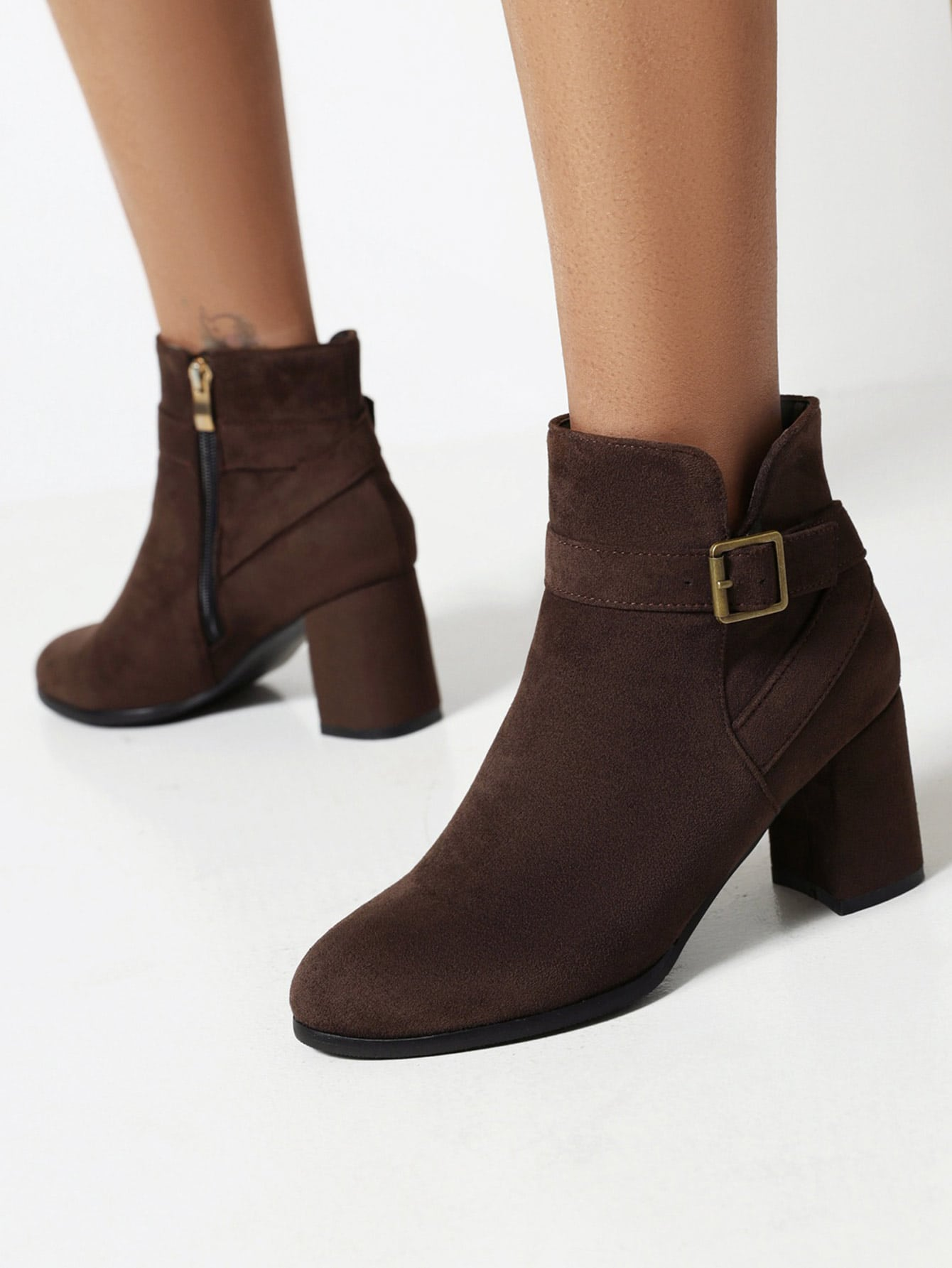 Suede Buckle Detail Side Zip Chunky Heeled Boots