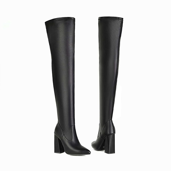 Minimalist Side Zip Chunky Heeled Over Knee Boots, Black