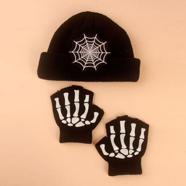 Kids Halloween Beanie & 1pair Gloves, Black