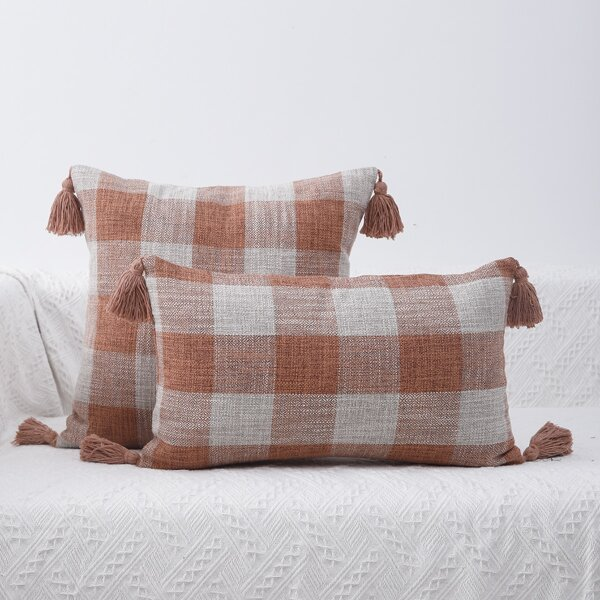 1pc Tassel Decor Plaid Print Cushion Cover Without Filler, Multicolor