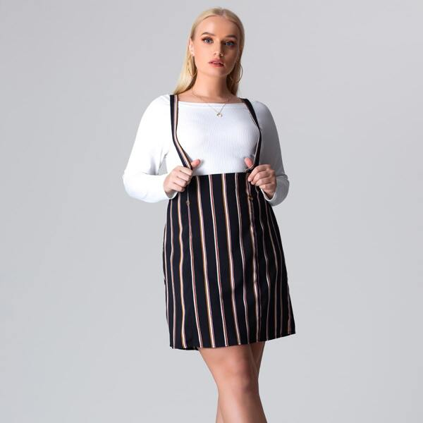 Plus Striped Crisscross Back Pinafore Skirt Without Tee, Multicolor