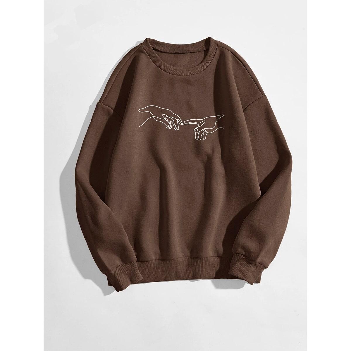Hand Print Drop Shoulder Sweatshirt, SHEIN  - buy with discount