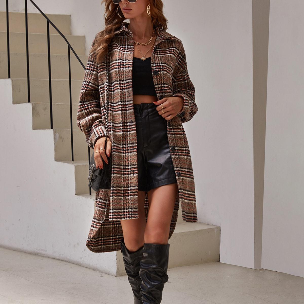 Plaid Print Drop Shoulder High Low Hem Overcoat