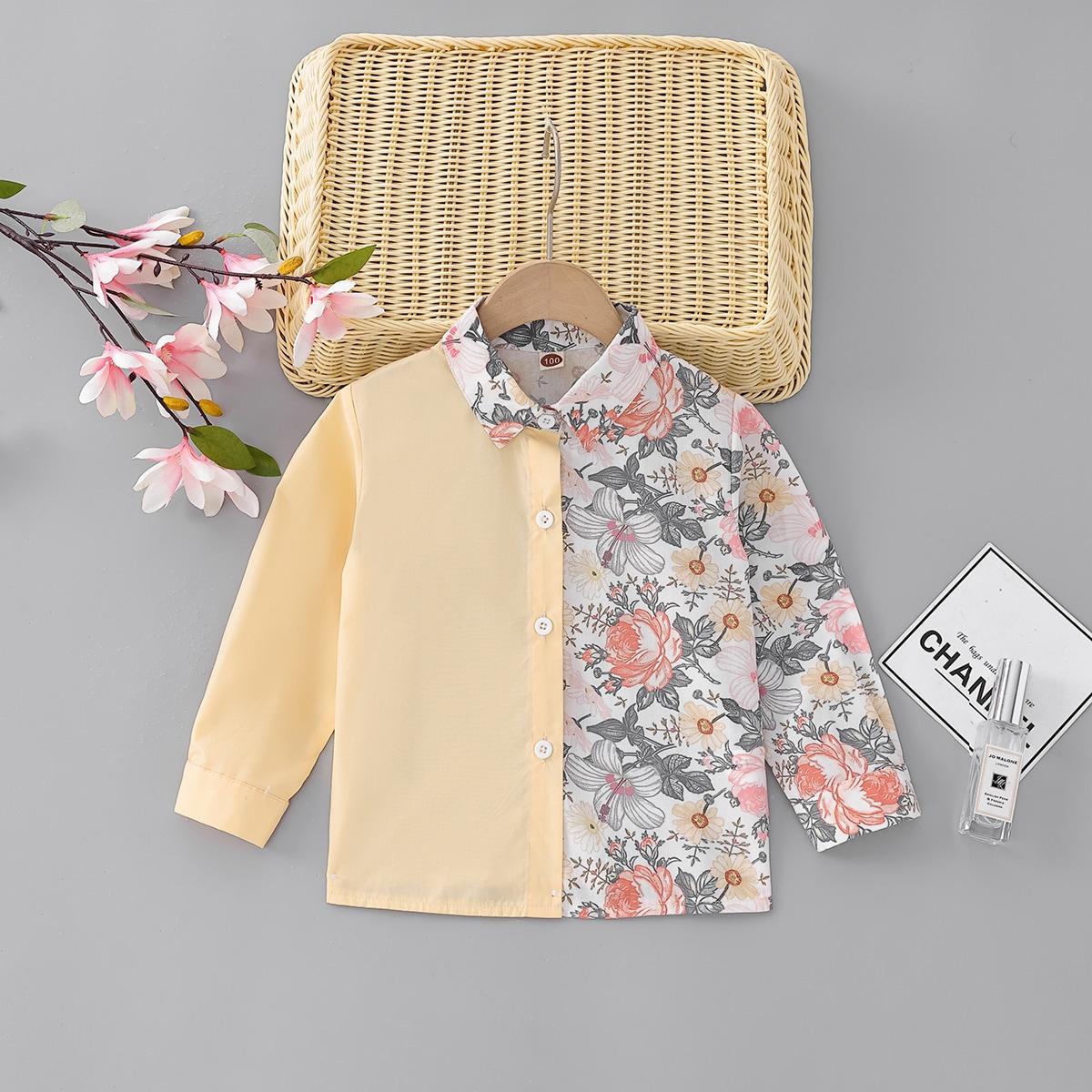 для мальчиков Рубашка с цветочным принтом контрастный