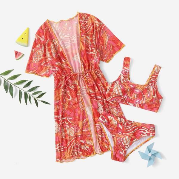 3pack Girls Plant Print Bikini Swimsuit & Kimono, Multicolor