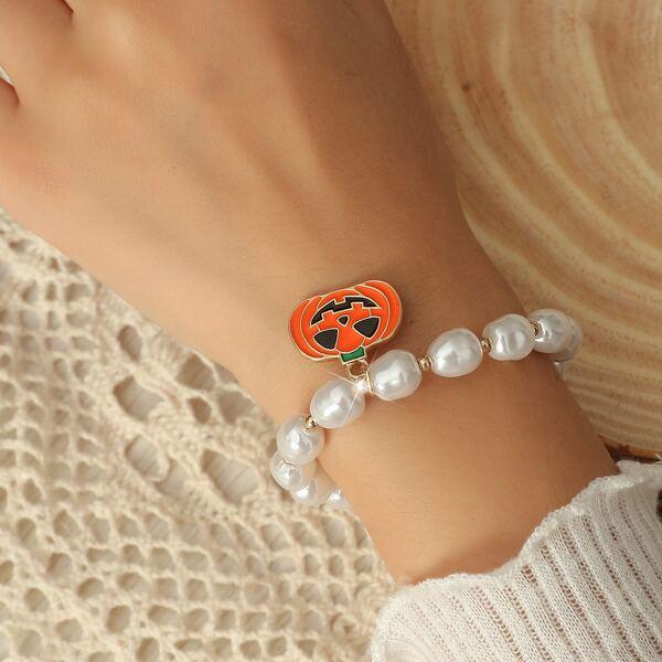 Halloween Pumpkin Charm Beaded Bracelet, Multicolor