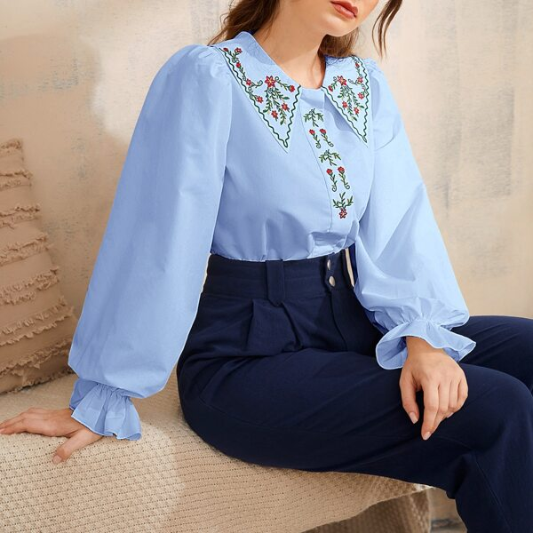 Floral Embroidery Peter-pan Neck Flounce Sleeve Blouse, Baby blue