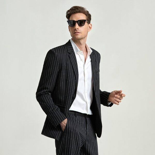 Men Lapel Collar Pinstriped Single Button Blazer, Black and white
