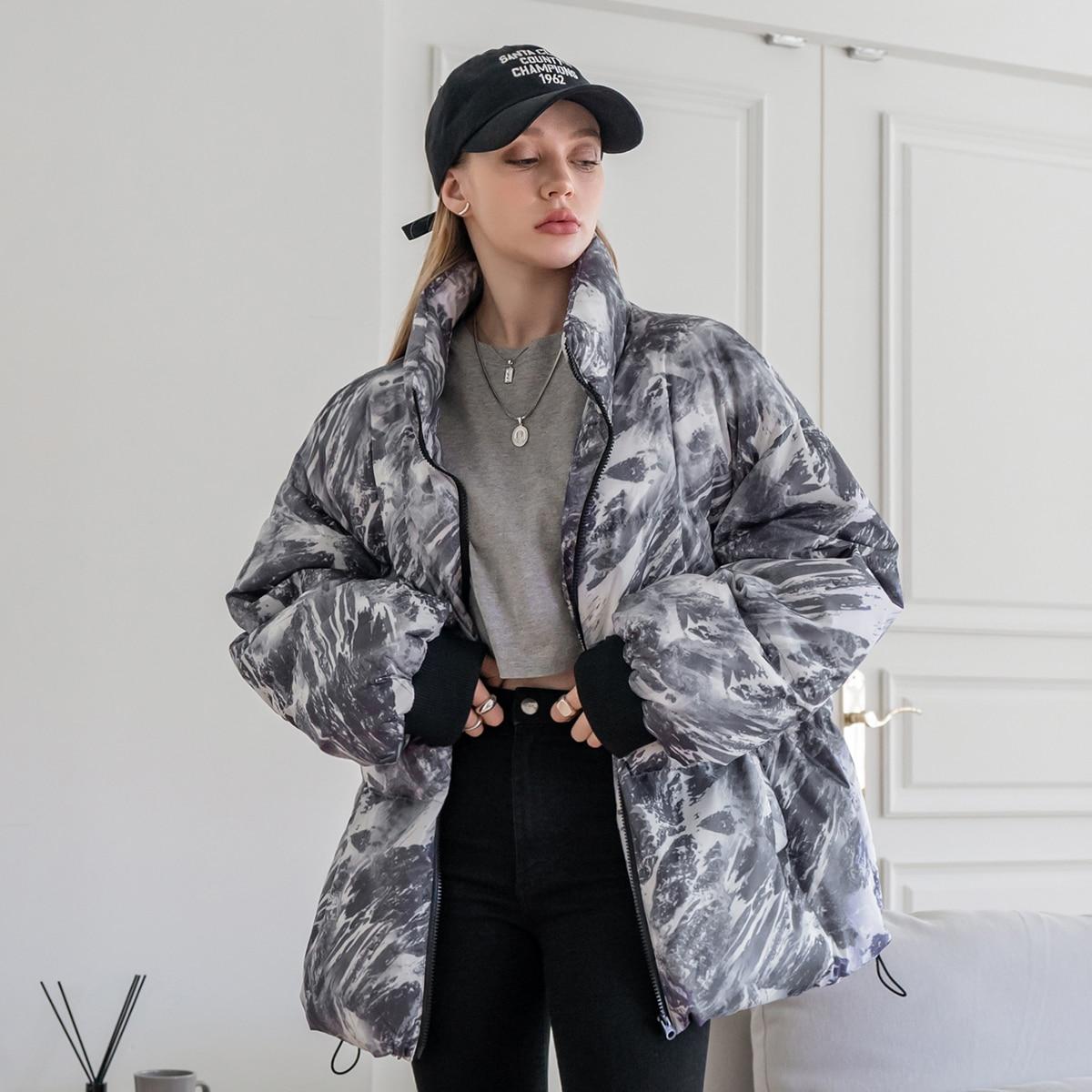 Allover Print Drawstring Hem Drop Shoulder Zipper Puffer Coat