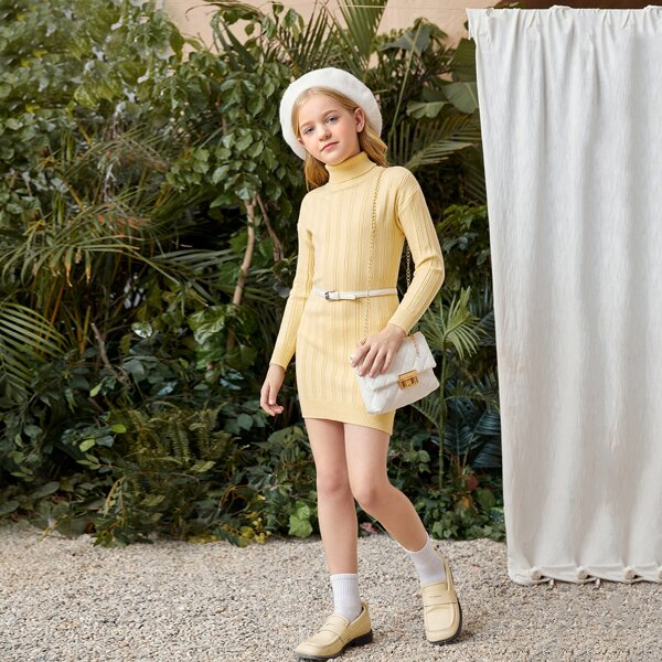 Girls Solid Turtleneck Sweater Dress Without Belt, Yellow