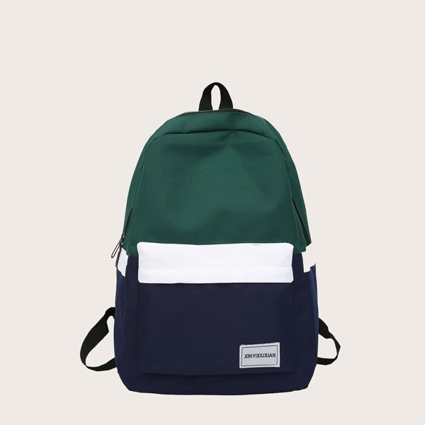 Unisex Colorblock Letter Patch Classic Backpack, Green