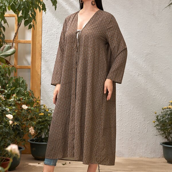 Plus Chain Print Tie Front Abaya, Brown
