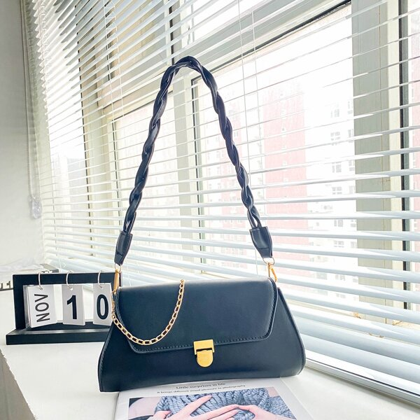 Minimalist Flap Square Bag, Black