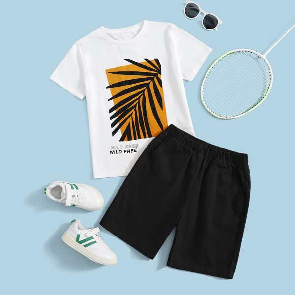 Boys Letter and Tropical Print Tee and Slant Pocket Shorts Set, Multicolor