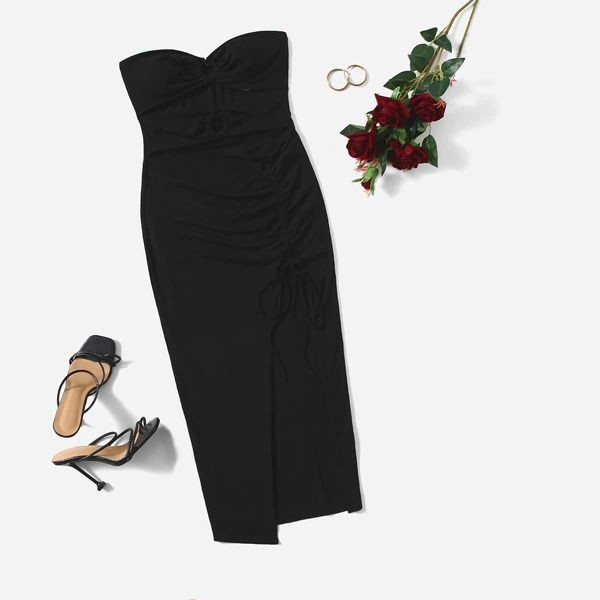 Plus Peekaboo Front Drawstring Ruched Split Thigh Tube Dress, Black