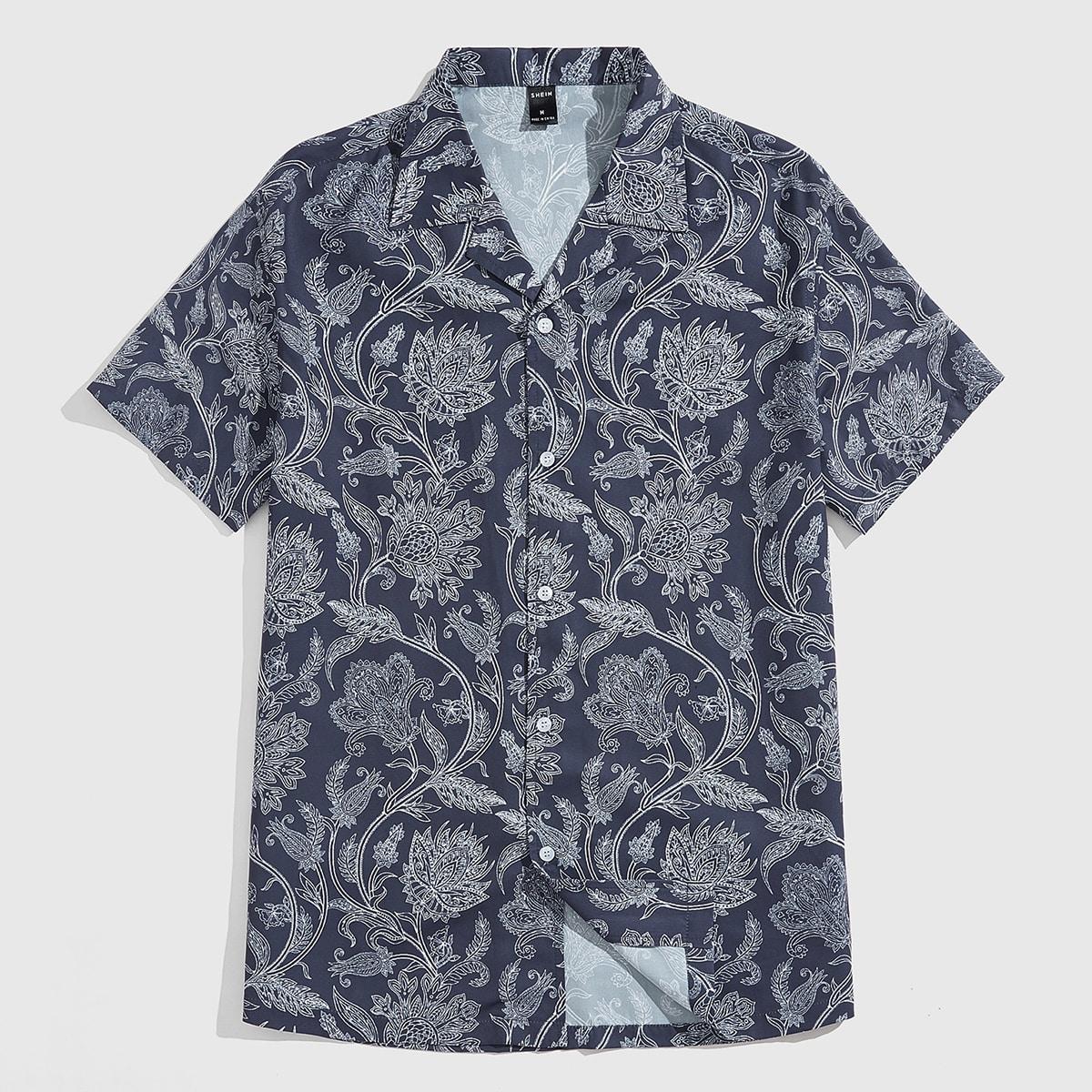 Мужской Рубашка с цветочным принтом на пуговицах