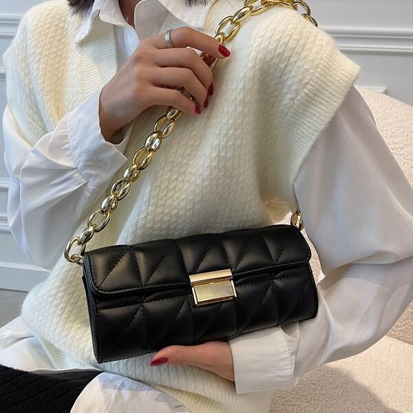 Minimalist Quilted Flap Baguette Bag, Black