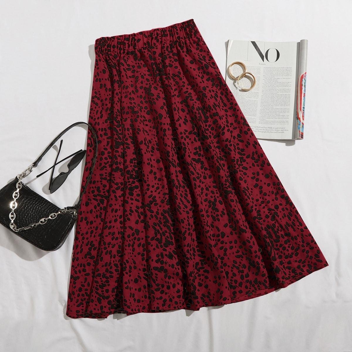 Расклешенная юбка размера плюс с принтом и эластичной талией
