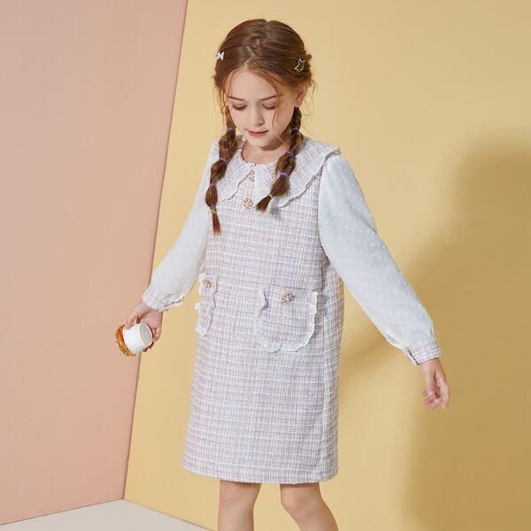Girls Swiss Dot Plaid Pattern Frilled Peter-pan Collar Pocket Front Tweed Dress, Multicolor