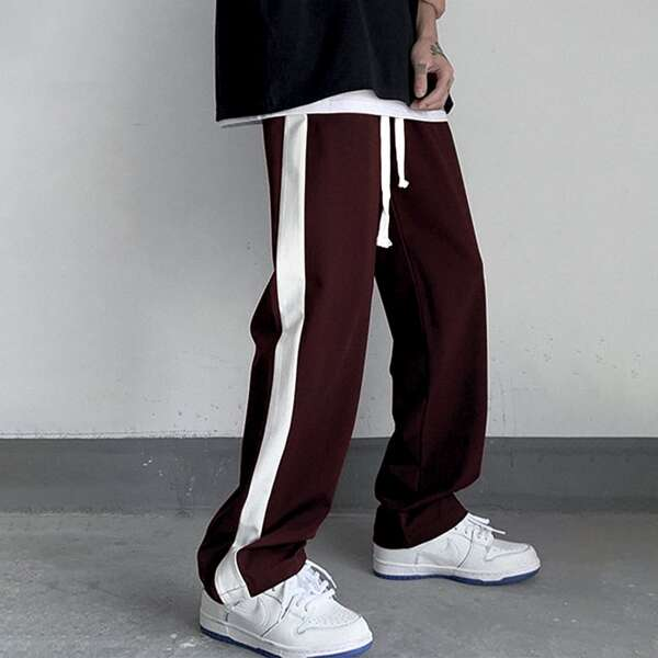 Men Contrast Sideseam Drawstring Waist Pants, Burgundy