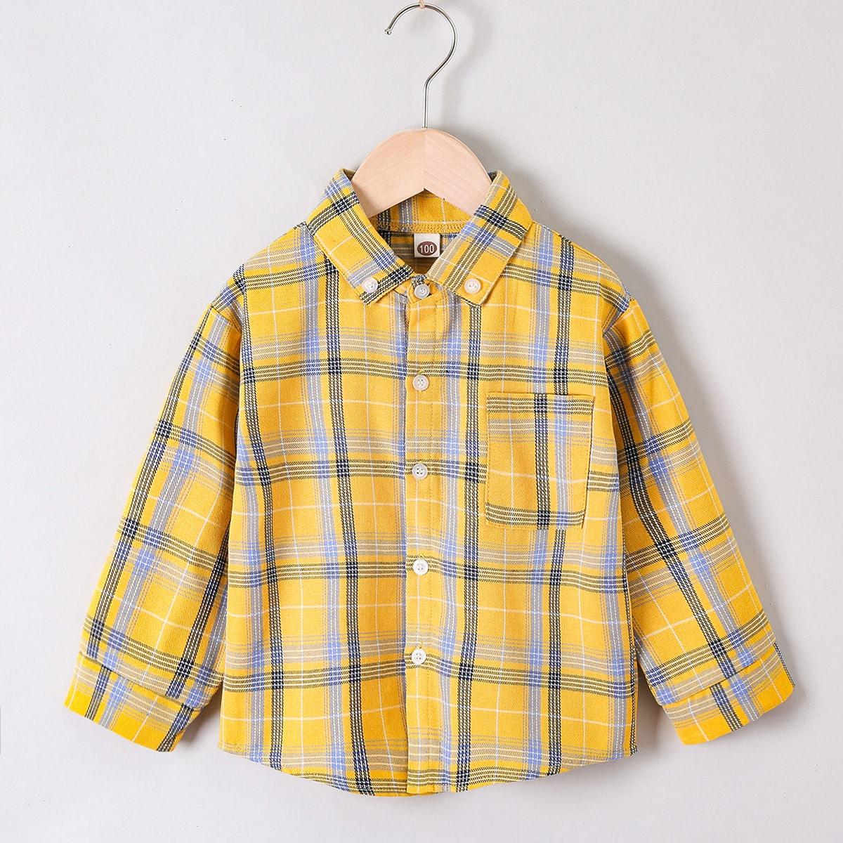 для мальчиков Рубашка в клетку заплатка карманом