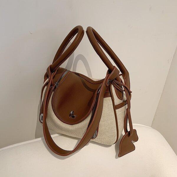 Two Tone Flap Shoulder Bag, Multicolor