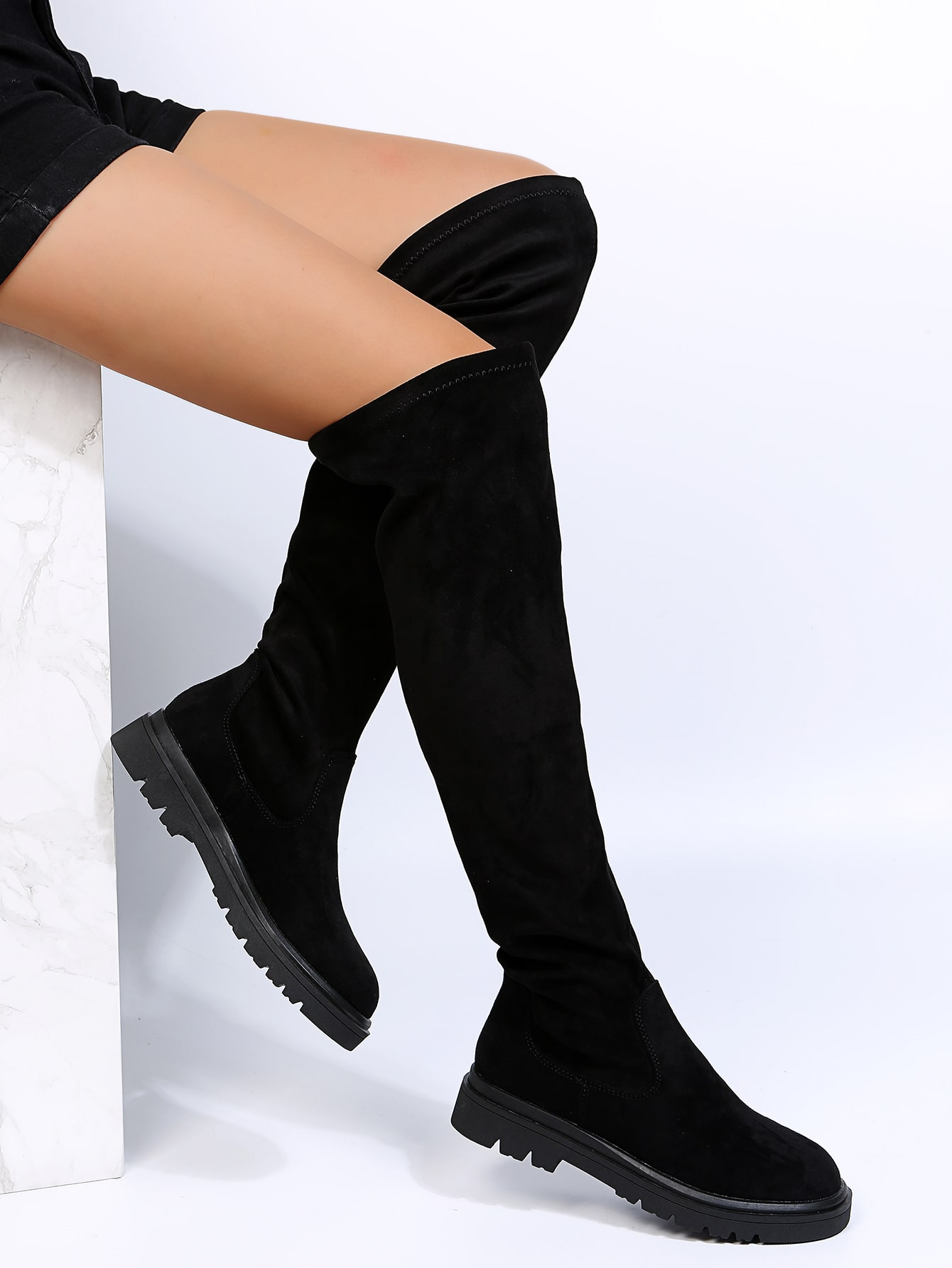 Suede Slip On Sock Boots