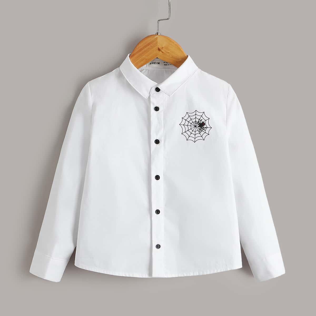 Пуговица Животный графический принт Повседневный Рубашки для мальчиков