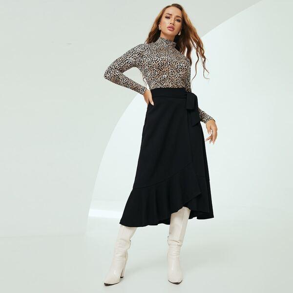Dalmatian Print Stand Neck Top & Ruffle Hem Wrap Skirt, Multicolor