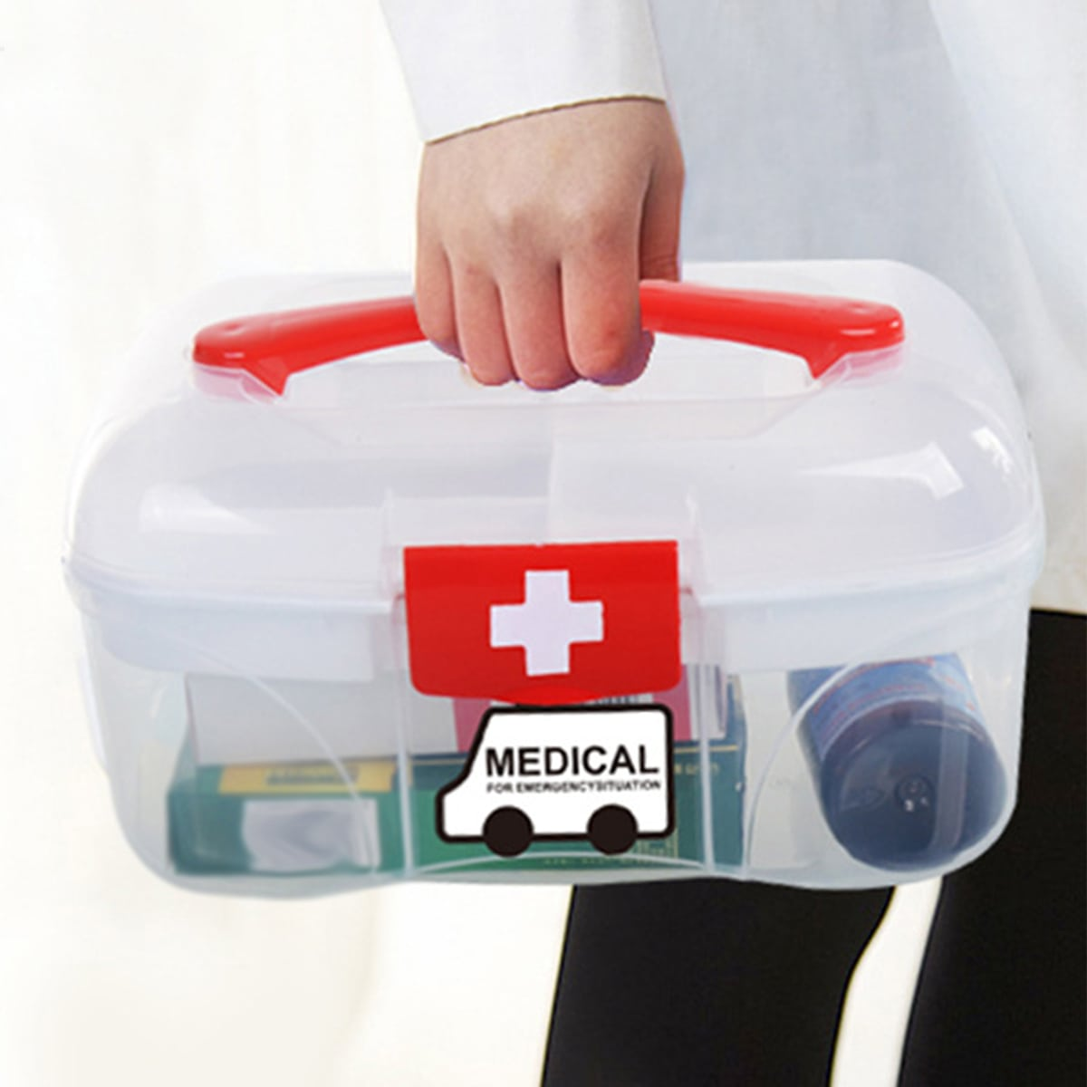1pc Portable Medicine Storage Box, SHEIN  - buy with discount