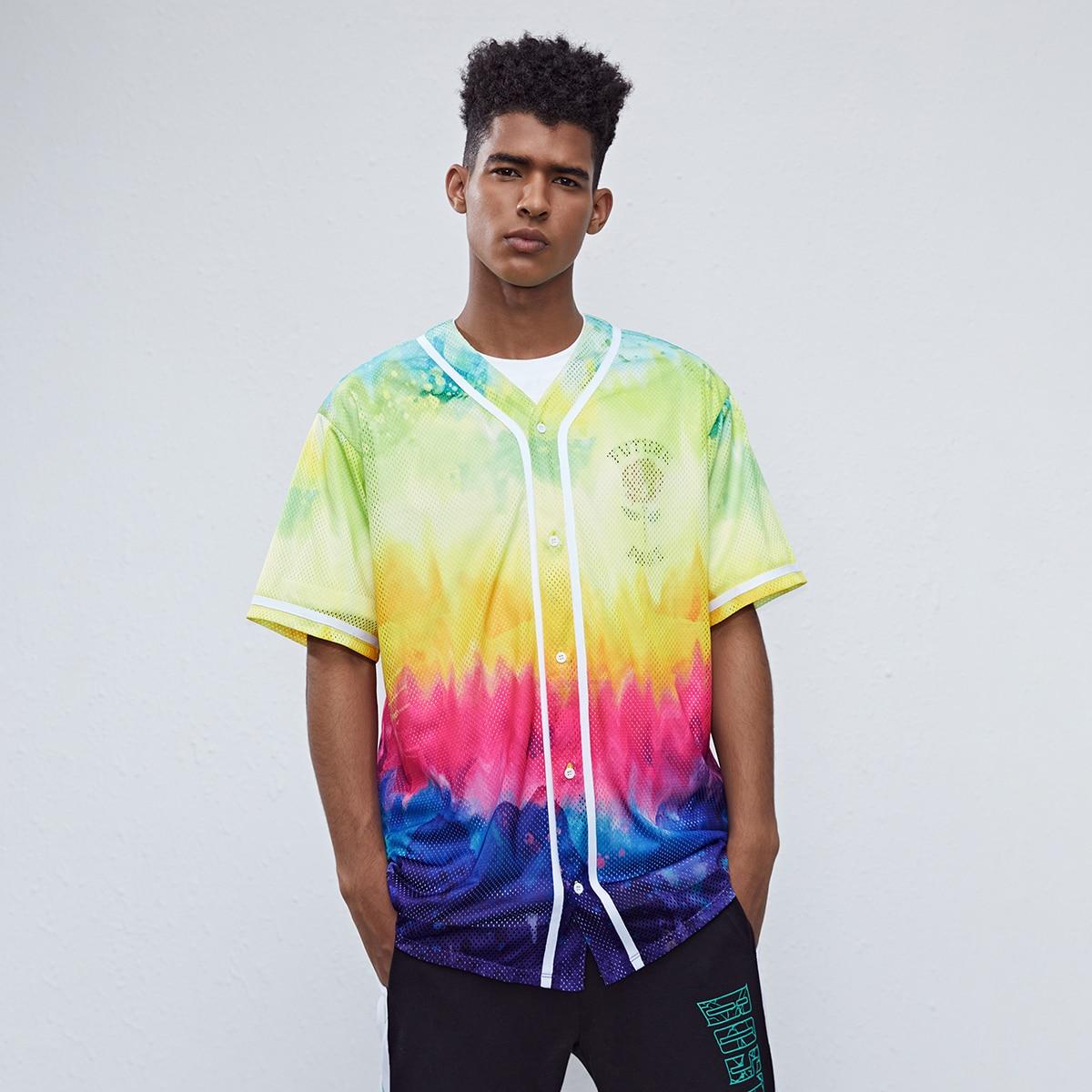 Мужской Рубашка с текстовым принтом с принтом тай-дай сетчатый