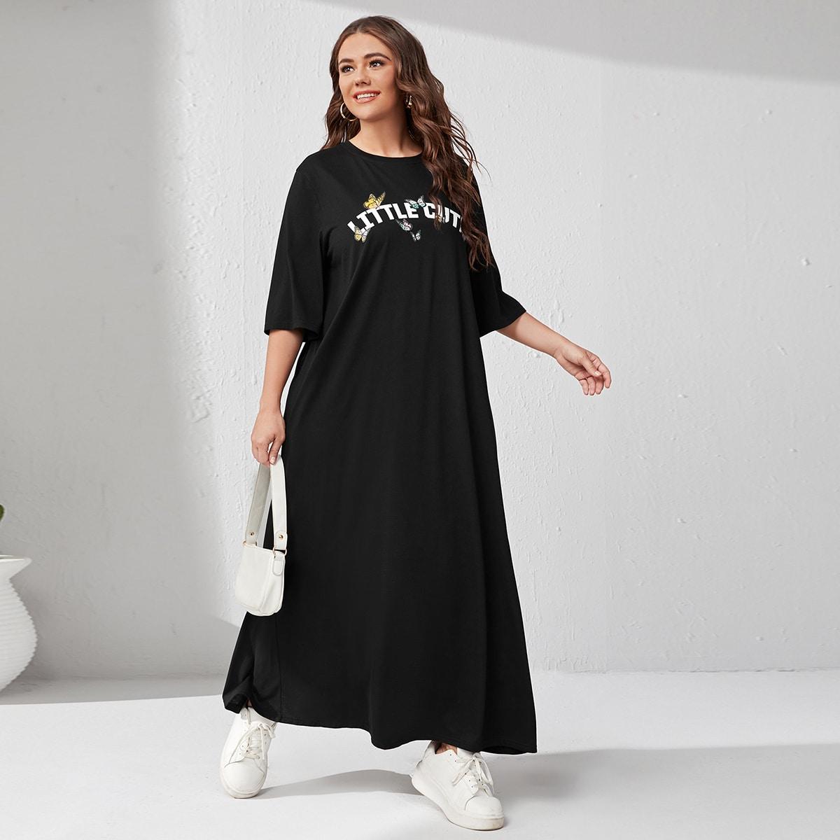 размера плюс Платье в горошек & с текстовым принтом