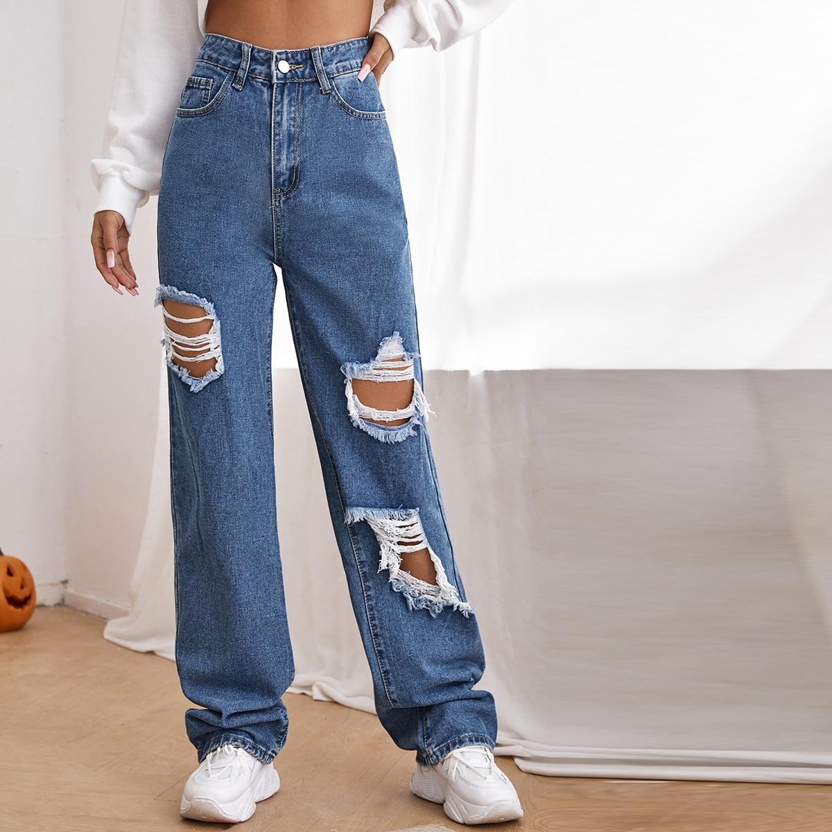 Рваные джинсы застежка