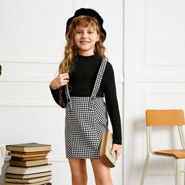 Girls Crisscross Back Houndstooth Tweed Pinafore Skirt Without Top, Black and white