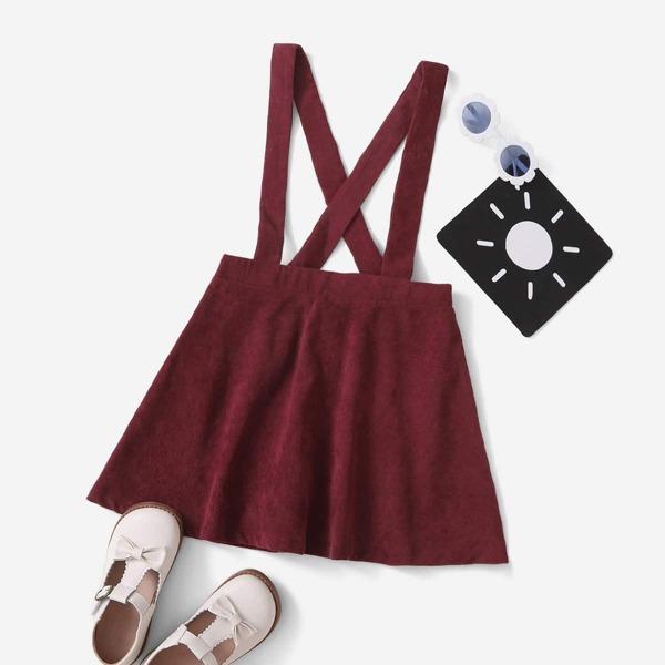 Girls Crisscross Cord Suspender Skirt, Burgundy