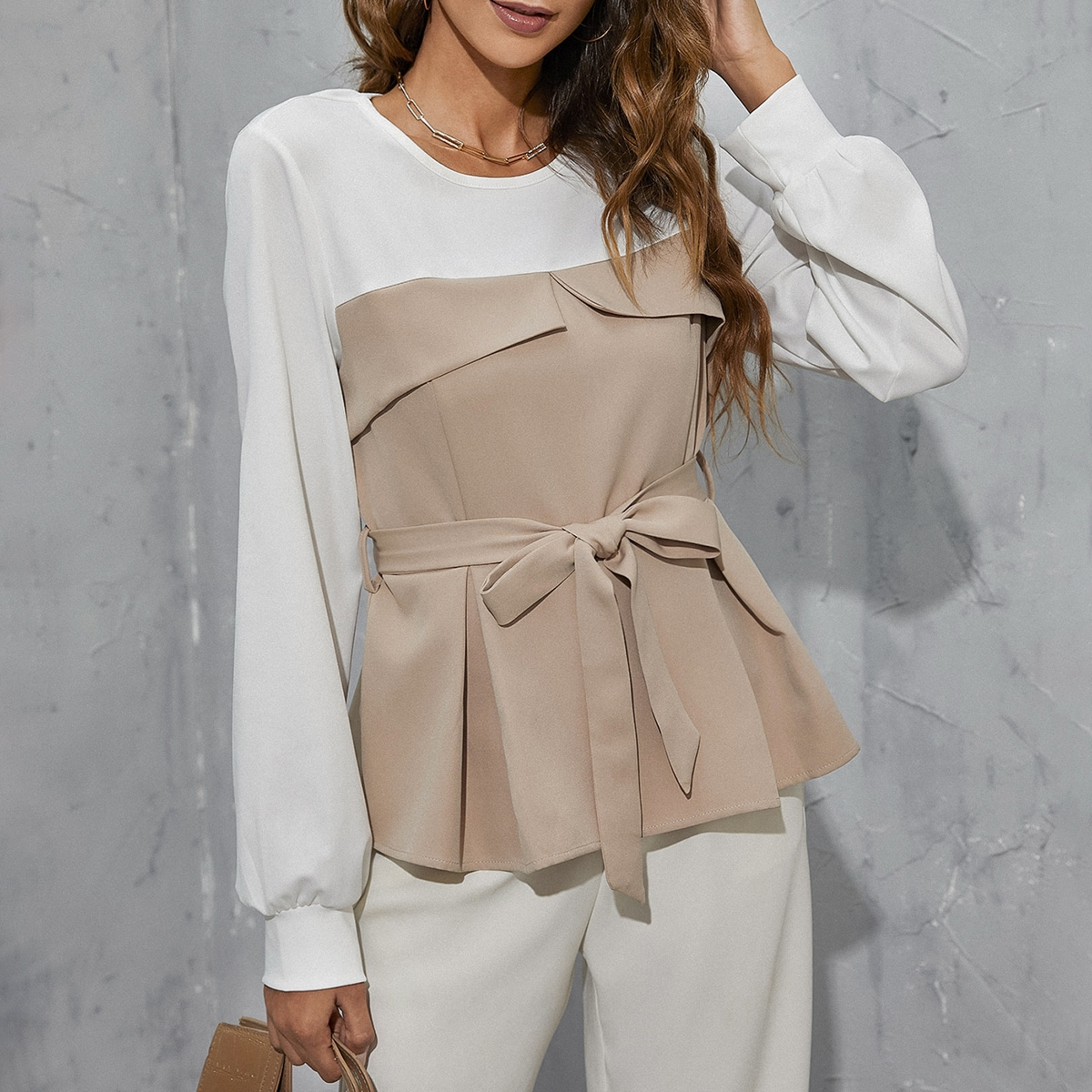 Lantern Sleeve Colorblock Belted Peplum Top, SHEIN  - buy with discount
